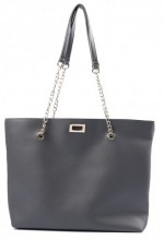 Y-F3.3  BAG417-005D PU Shopper with Metal Chain 44x35x10cm Grey