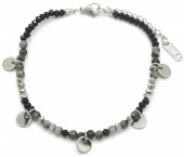 E-A2.3 B010-017S S. Steel Bracelet Coins and Stones Grey-Silver