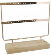 R-G6.2 PK424-004 Wood with Metal Earring Display Gold 23x22x7cm