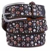 I-A14.1  FTG-060 PU with Leather Belt with Studs-Stars-Crystals 3.5x90cm Brown