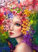 Y-A5.3 KTL938 Paint By Number Set Fox Flower Lady 40x30cm