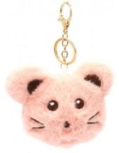S-K4.1 KY2035-010F Fluffy Keychain Mouse 10x8x3cm Pink