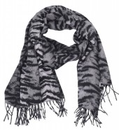 Z-B3.5 SCARF405-024F Sof Scarft With Animal Print 180x70cm Grey