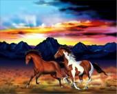 R-B8.1 FH322 Diamond Painting Set Horses Square Stones 50x40cm