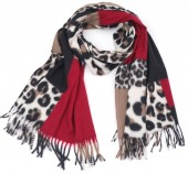 Y-A6.5 SCARF405-025C Soft Scarf Checkered Leopard 180x70cm Red