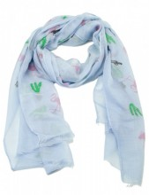 S207-001 Scarf with Cacti and Flamingos 70x180cm Blue
