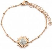 D-C5.2 B2020-003RG S. Steel Bracelet 15mm Flower with Crystals Rose Gold