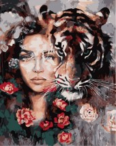 Y-C4.4 MS7480 Paint By Number Set Lady-Tiger 50x40cm