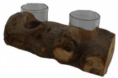 Q-K7.1 Wood with 2 Glasses 27cm