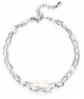 D-E19.5 B020-004S S. Steel Layered Bracelet Freshwater Pearls
