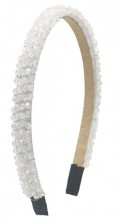 S-G1.1  H004-001D Headband with Faceted Glass Beads White