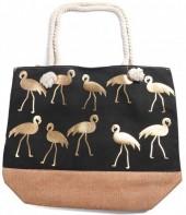 Y-E2.4 BAG530-002 Beach Bag Flamingos Gold-Black