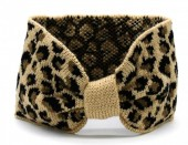 T-F2.1 H401-004C Knitted Headband with Animal Print Light Brown