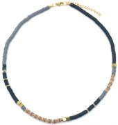 E-C19.1 N1941-001D Surf Necklace with Metal Beads Black-Grey