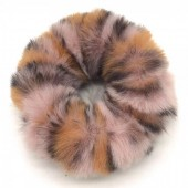 S-D2.1 H414-003A Scrunchie Fluffy Animal Print Pink