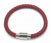 A-E14.1 B1643-001 S. Steel with Leather Bracelet 19cm RedA-E14.1 B1643-001 S. Steel with Leather Bracelet 19cm Red