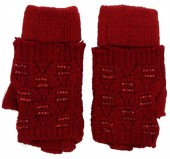 S-A1.4 Gloves with open Fingers and Crystals Red