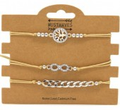 F-D22.1  B316-045 Bracelet Set 3pcs Tree of Life - Infinity - Chain Brown