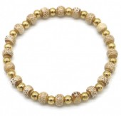 A-B5.1 B2146-014G-C S. Steel with Ceramic Beads Bracelet Brown-Gold
