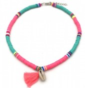 C-A21.2  N412-001C Choker Surf Necklace Tassel-Shell Pink-Turquoise