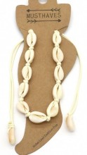 G-B2.2 ANK2001-001B Anklet with Shells Beige