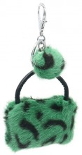 S-H5.3 KY2035-033A Keychan Fluffy Bag 9x7x3cm Green