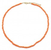 A-C9.1 N2061-001O Necklace with Glass Beads Orange