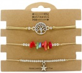 F-D9.2  B1936-024B Bracelet Set 3pcs Tree of Life - Star - Stones Brown