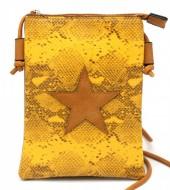 T-O7.1 BAG326-001 PU Festival Crossbody Bag Snake with Star 20x15cm Yellow