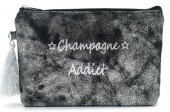 BAG520-001A Clutch With Tassel Champagne Addict Black-Silver