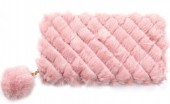 R-I3.2 WA527-001A Fluffy Wallet with Pompon Pink