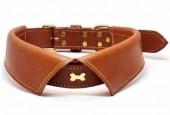 H-C8.1 MTDC-003 Leather Dog Collar Bow with Bone Brown L 58x2.5cm