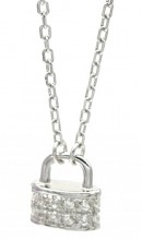 D-A5.3 SN105-020 925S Silver Necklace Lock with Zirconia 8mm
