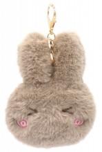 S-F4.3 KY2035-011E Fluffy Keychain Bunny 12x10x3cm Brown