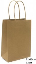 Y-B4.4 PK525-002C Paper Giftbag 21x15cm Brown 12pcs