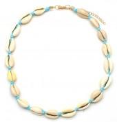 D-D21.2  N316-012 Choker Necklace Shells 37-43cm Blue