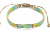 B-E18.2 B2039-017E Bracelet with Glassbeads Brown-Multi