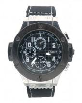 E-A20.4 W523-001B Quartz Watch with PU Strap 45mm Black