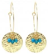 C-A19.1  E2019-041G Earrings Coin 3x5cm Gold