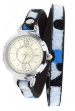 E-C21.5 W1202-003 PU Wrap Watch with Panter Print Blue