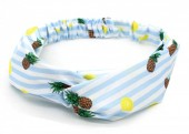 S-J3.3 H040-001 Headband with Stripes-Pineapples-Lemons Light Blue-White