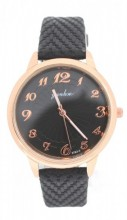 WA023-001 Quartz Watch with PU Strap Rose Gold-Black
