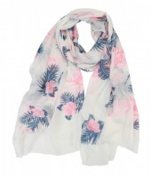 X-D4.1  S106-028 Scarf with Glitters Flamingo and Flower 70x180cm