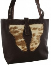 Q-B5.2  Leather with Cowhide Bag 37x33cm Mixed Colors - Brown