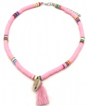B-A18.5 N412-001B Choker Surf Necklace Tassel-Shell Pink