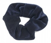 S-E3.4 H350-022C Rib Fabric Shiny Scrunchie Navy