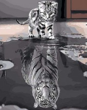 Y-F1.3  X316 Diamond Painting Set Kitten-Tiger 40x30cm