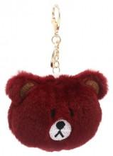 S-E4.2 KY2035-027F Keychain Fluffy Bear 9x7x3cm Bordeaux
