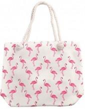 Y-F6.5  BAG217-002 Beach Bag Flamingos 43x34cm White
