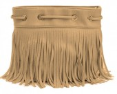 R-C5.2 BAG010-001 PU Bag with Fringes Brown 26x20 cm
